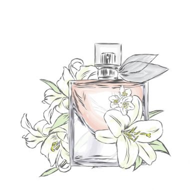 Perfume bottle and bouquet of flowers.Vector drawing.