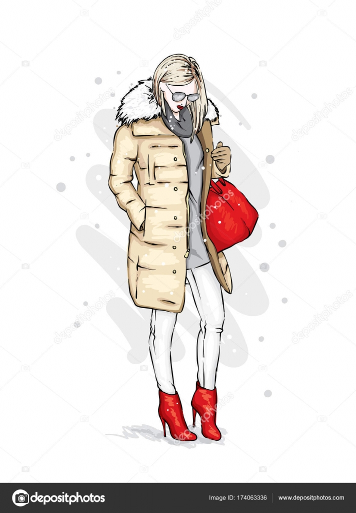 09e03a6bed Fashion skatech. Clothes and accessories.– stock illustration. Stylish girl  in a trendy winter coat