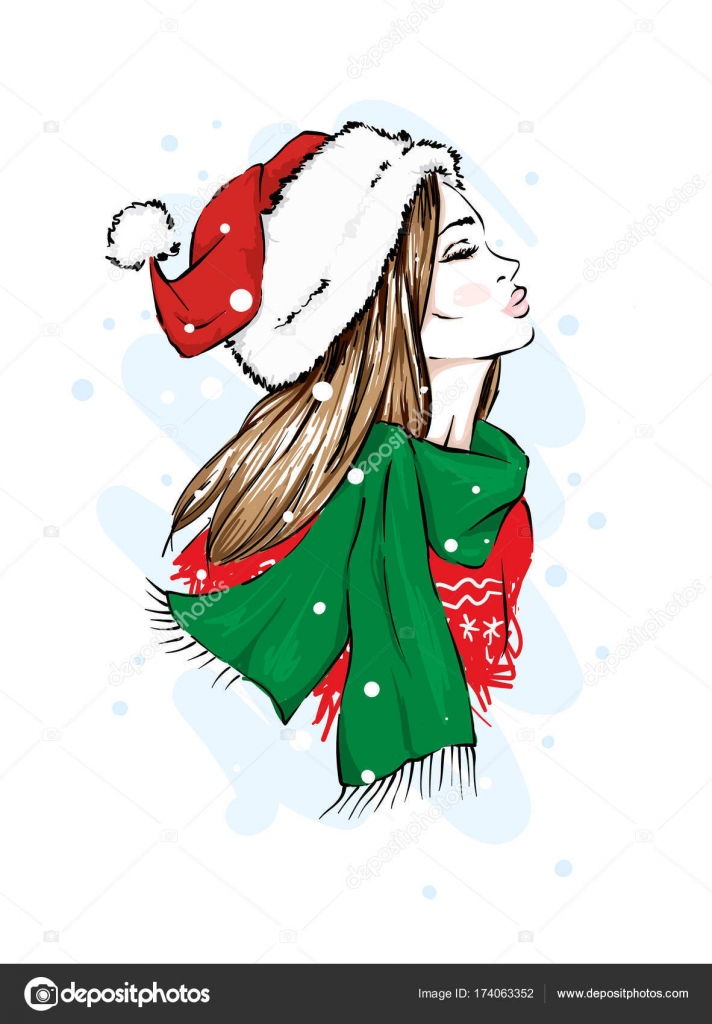 Young Beautiful Girl In Santa Claus Hat New Year S And Christmas Fashion Style Clothing And Accessories Stock Vector C Vitalygrin 174063352