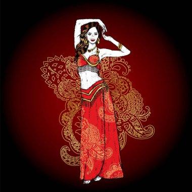 Beautiful Asian girl dancing. Vector illustration. Belly dance. East.
