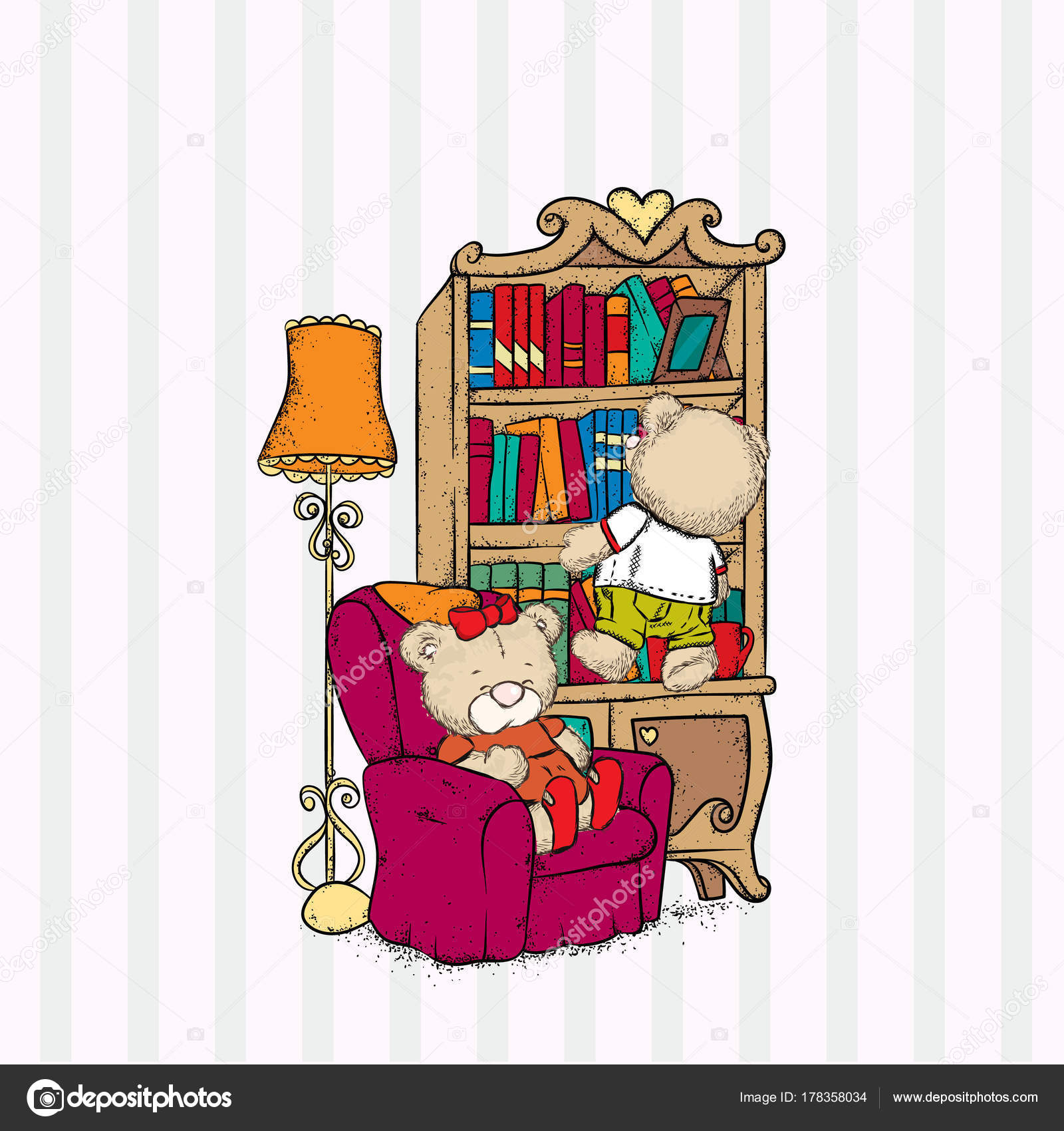 Cozy Living Room Vector Illustration: Cute Bears Cozy Room Armchair Bookcase Floor Lamp Vector