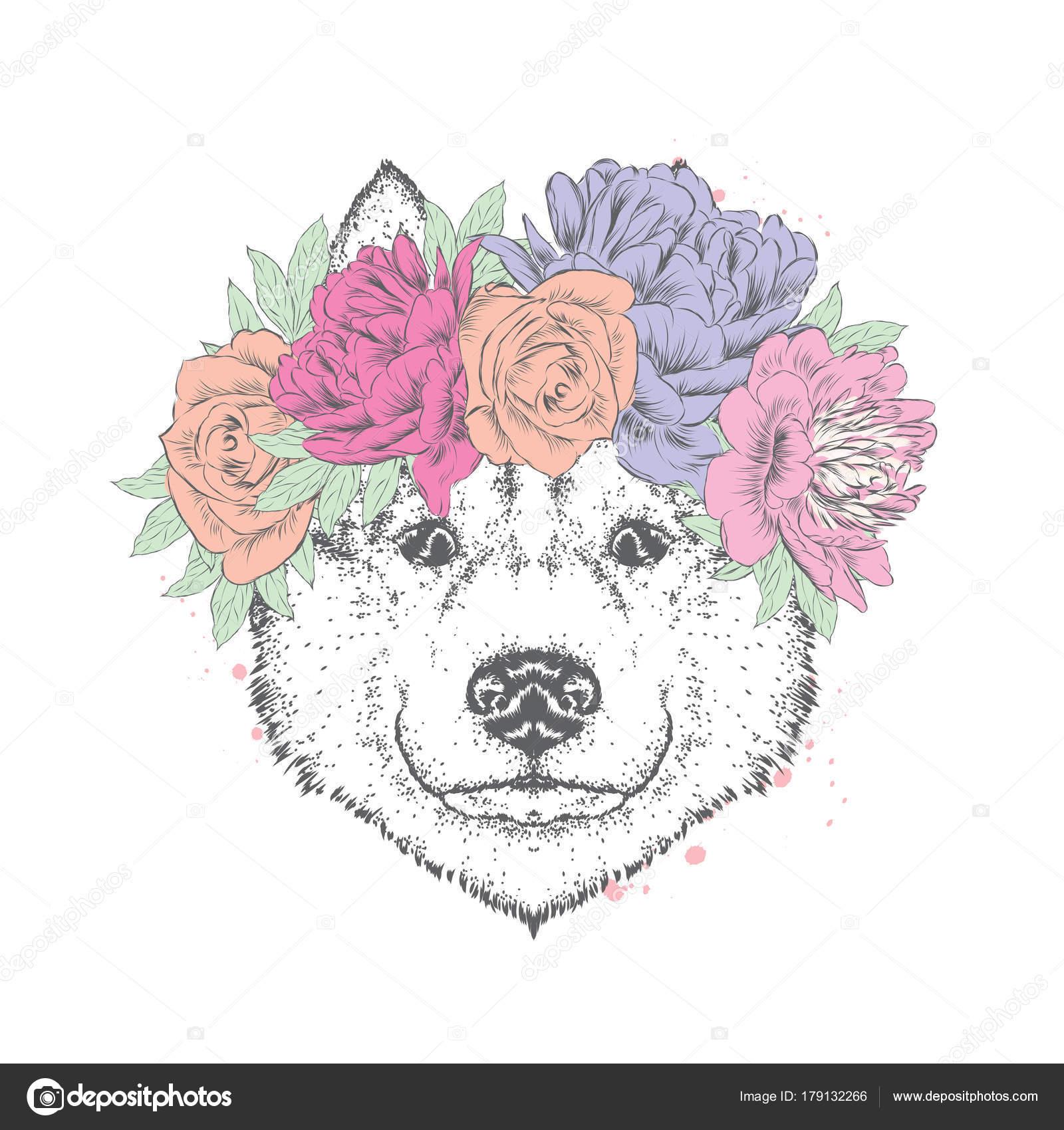 Guirnalda rosas crochet | Perro Hermoso Una Guirnalda Rosas Peonías ...