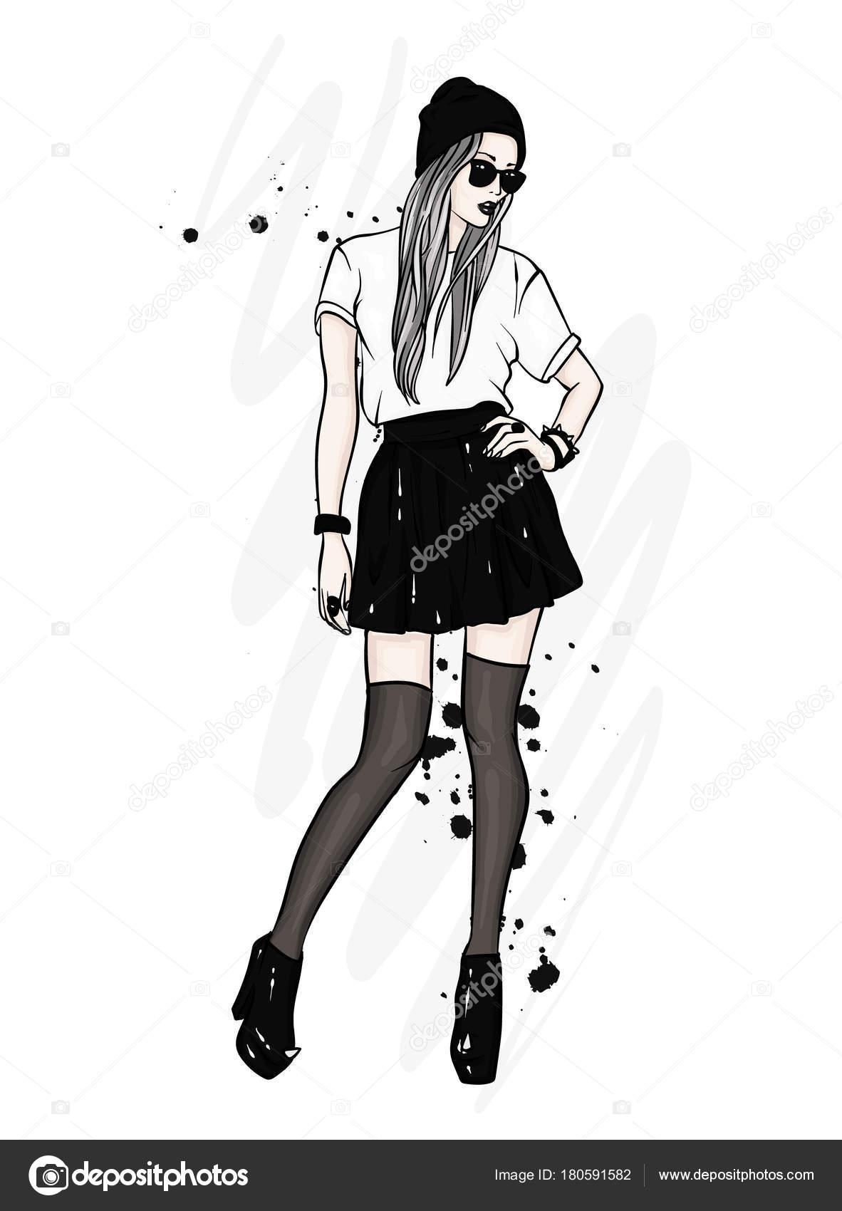 c839b56b4c1 Tall Slender Girl Stylish Clothes Girl Skirt Hat Glasses Stockings ...