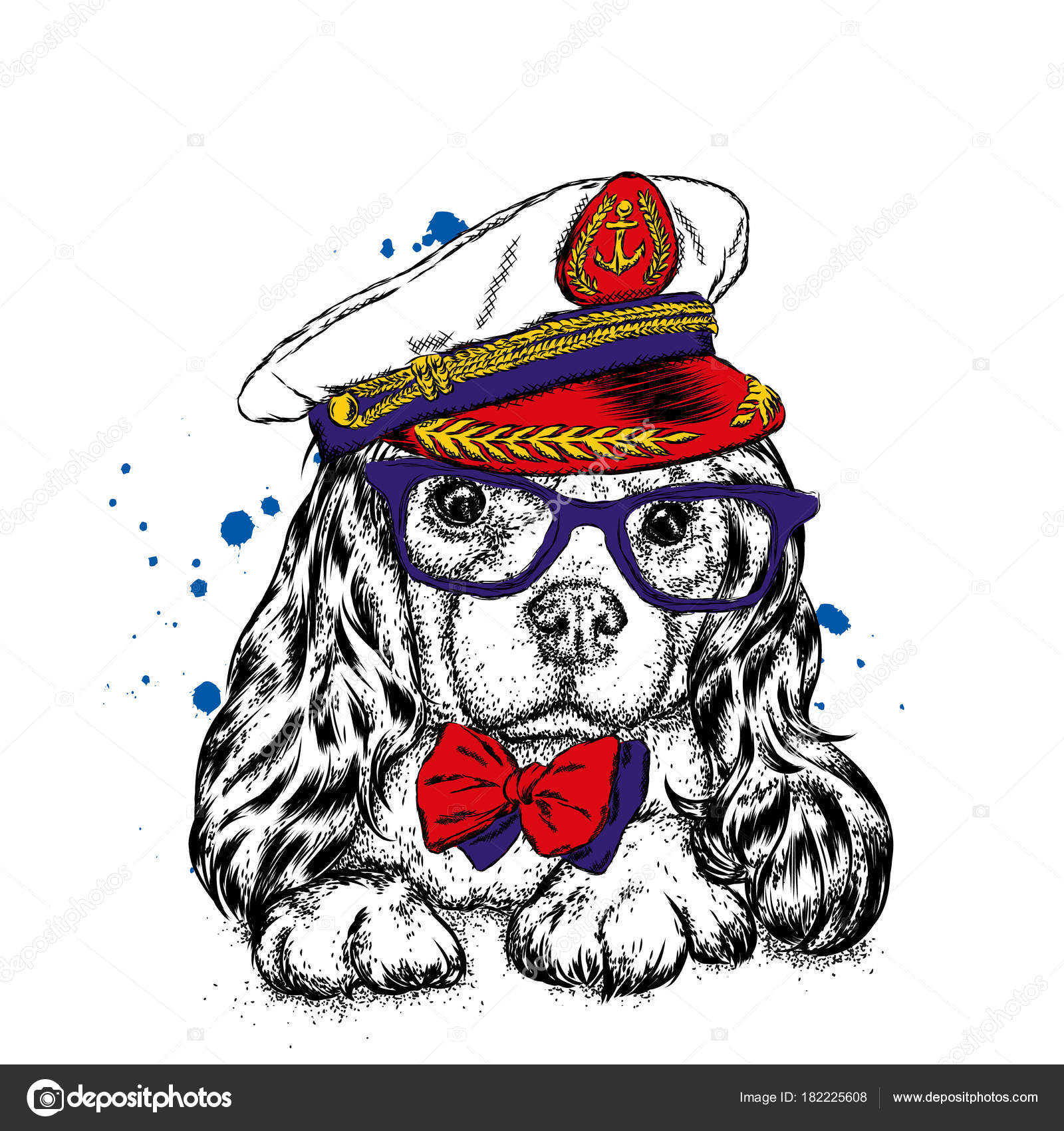 A pedigree dog in the captainu0027s costume of a ship. Vector illustration for a postcard or a poster print for clothes.  sc 1 st  Depositphotos & Handsome Puppy Cap Glasses Tie Pedigree Dog Captain Costume Ship ...