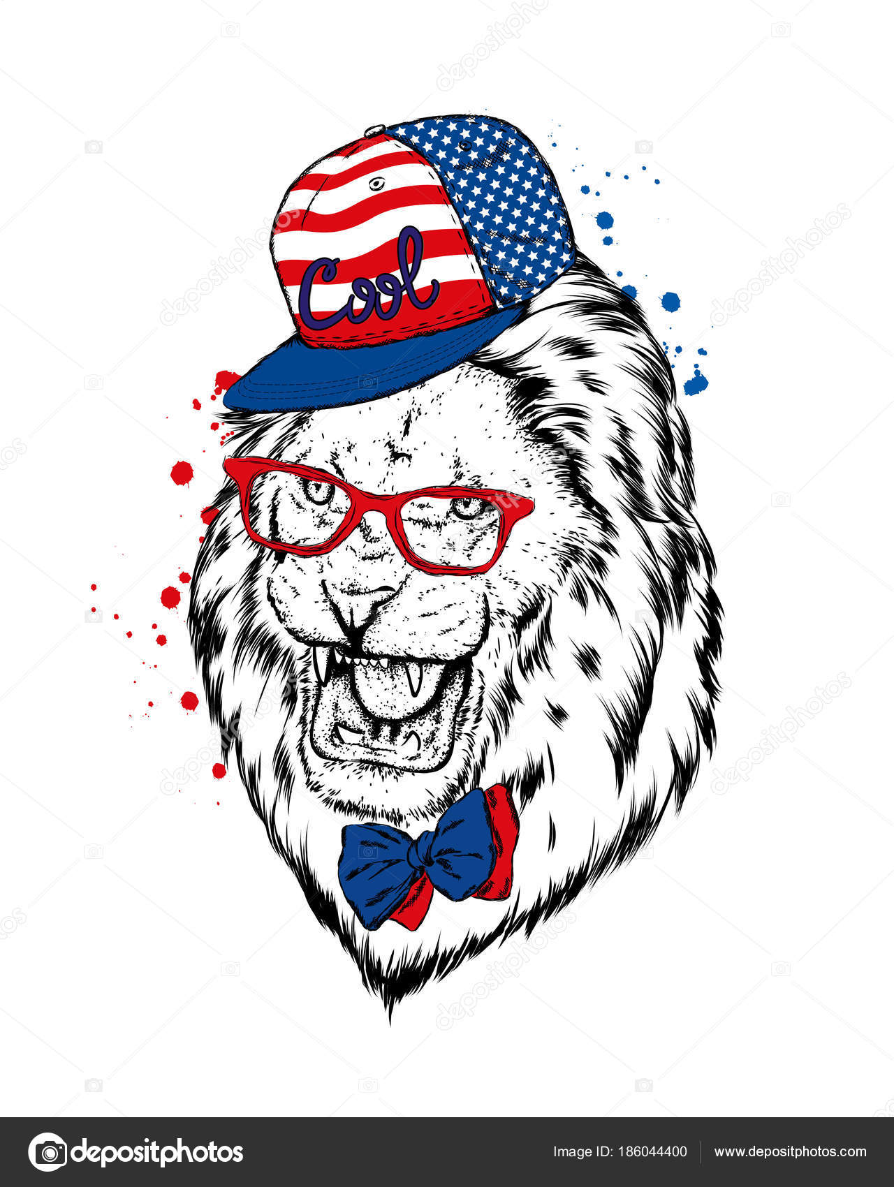 Hipster Poster Print Greeting Card Animals Lion Cap Glasses Stock