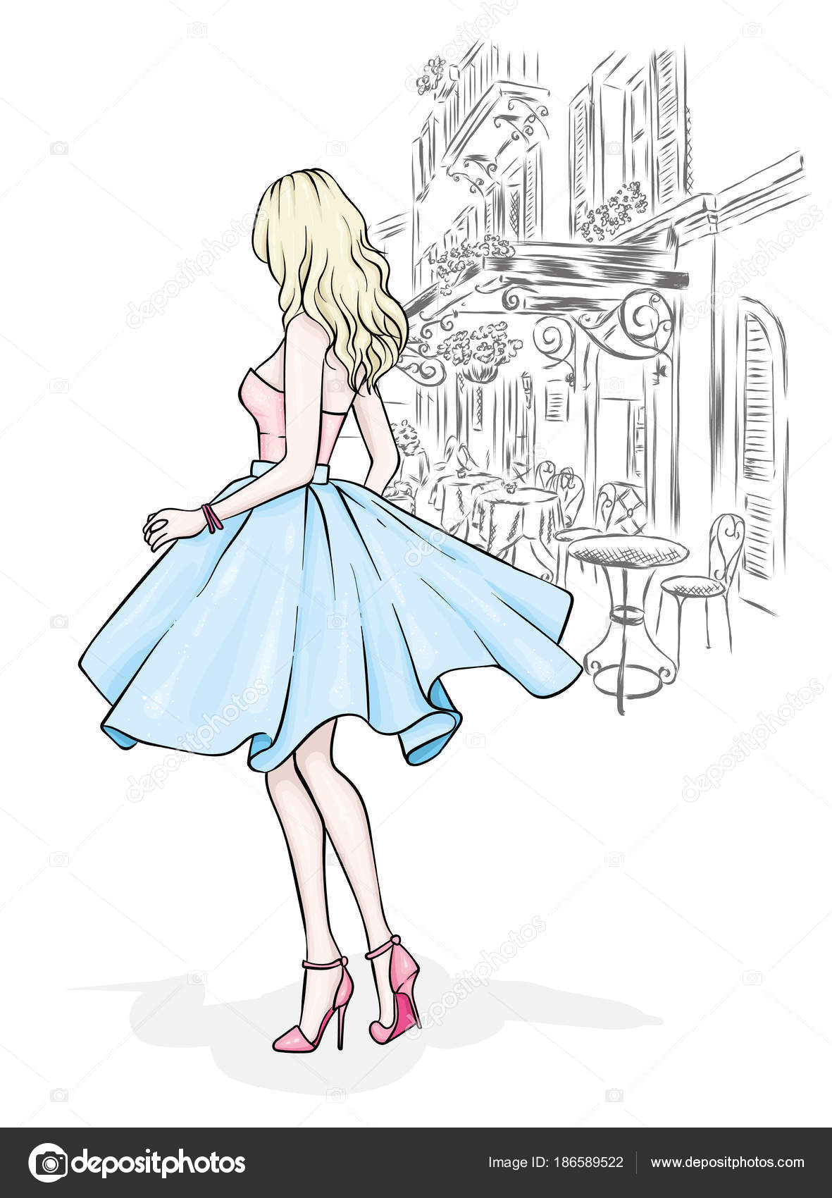 6605d2a0fafd0c A model in a skirt, top and high-heeled shoes. Vector illustration. Clothing,  accessories, fashion and style.– stock illustration
