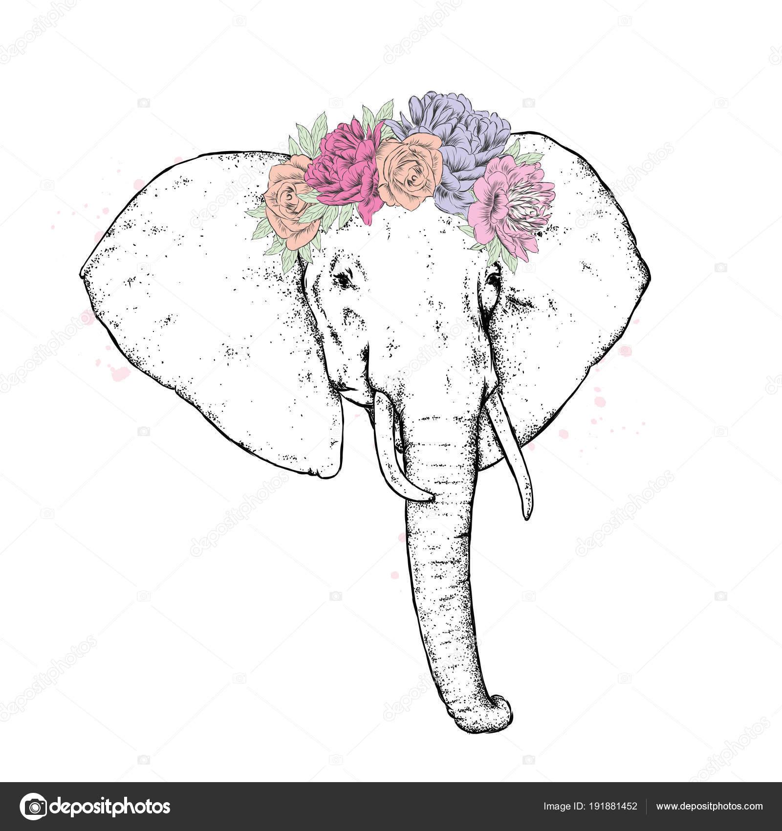 Ein Elefant Einem Blumen Kranz Vektor Illustration Wildes Tier ...