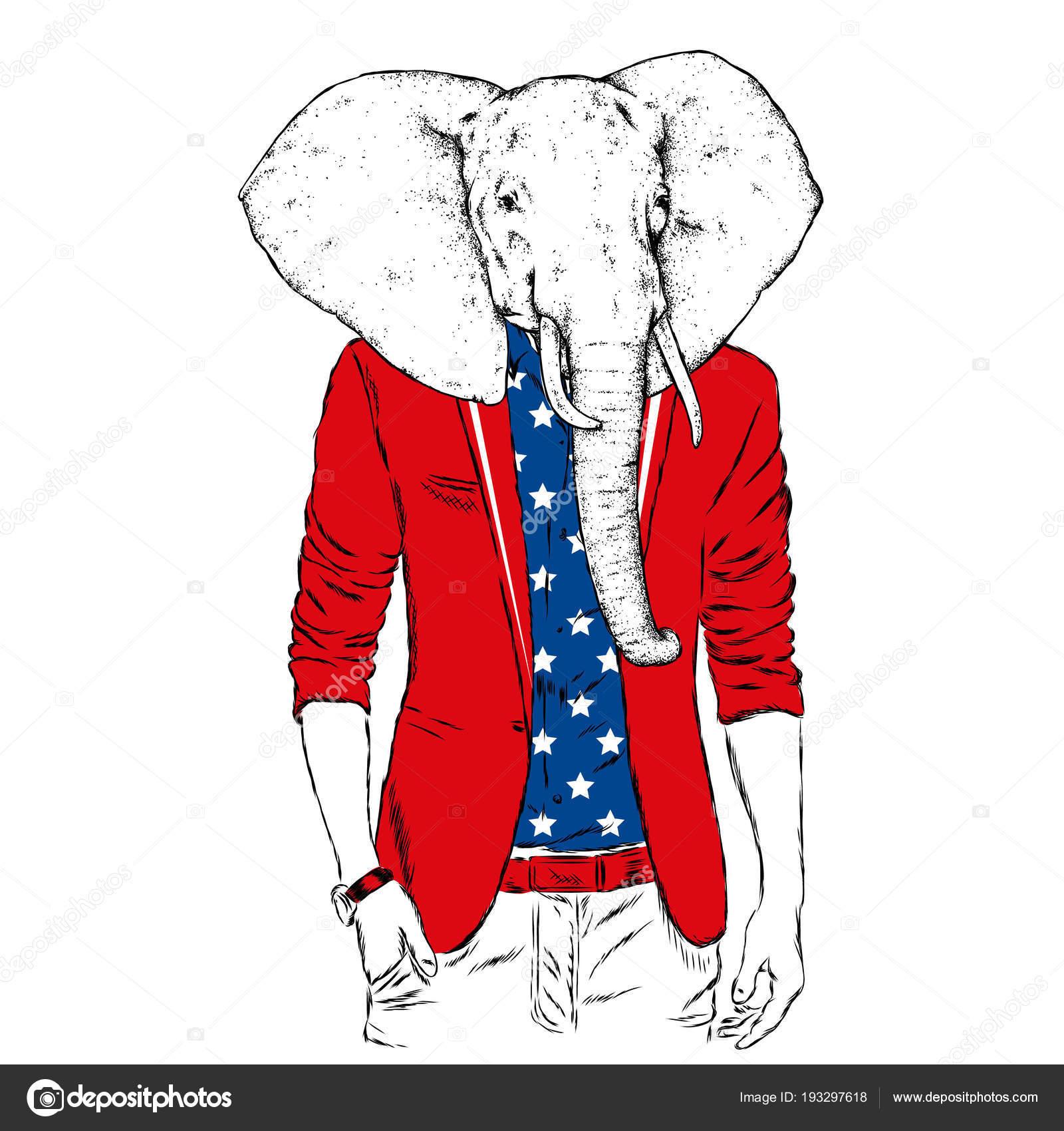 Elefante Con Cuerpo Masculino Una Chaqueta Ilustración Vector ...