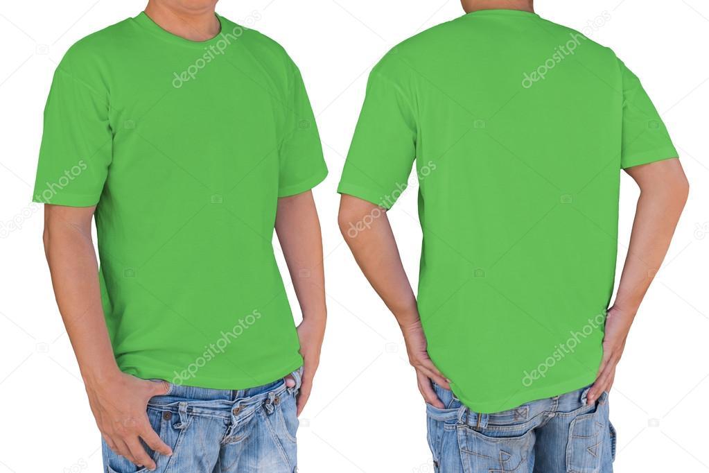 86111a7ea Camiseta del color de hombre vestido de verde manzana en blanco con trazado  de recorte– Imagen de Archivo