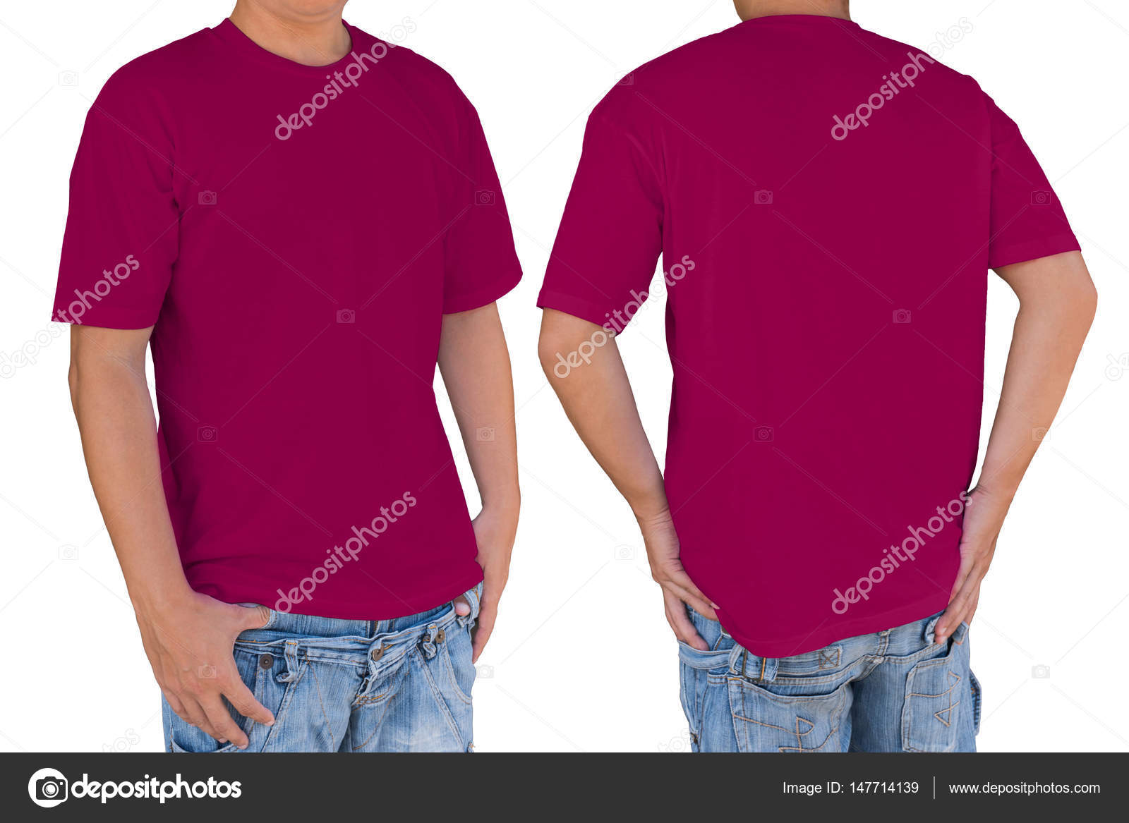 45b8f6e9 Man wearing blank dark pink t-shirt with clipping path, front an — Stock