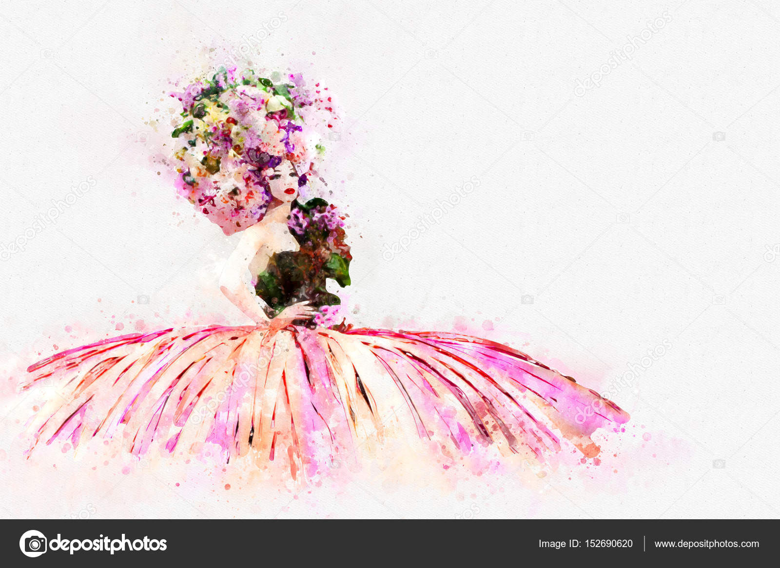 Moda Bayan çiçek şapka Ve Kıyafet Giyen Dijital Boyama Stok Foto