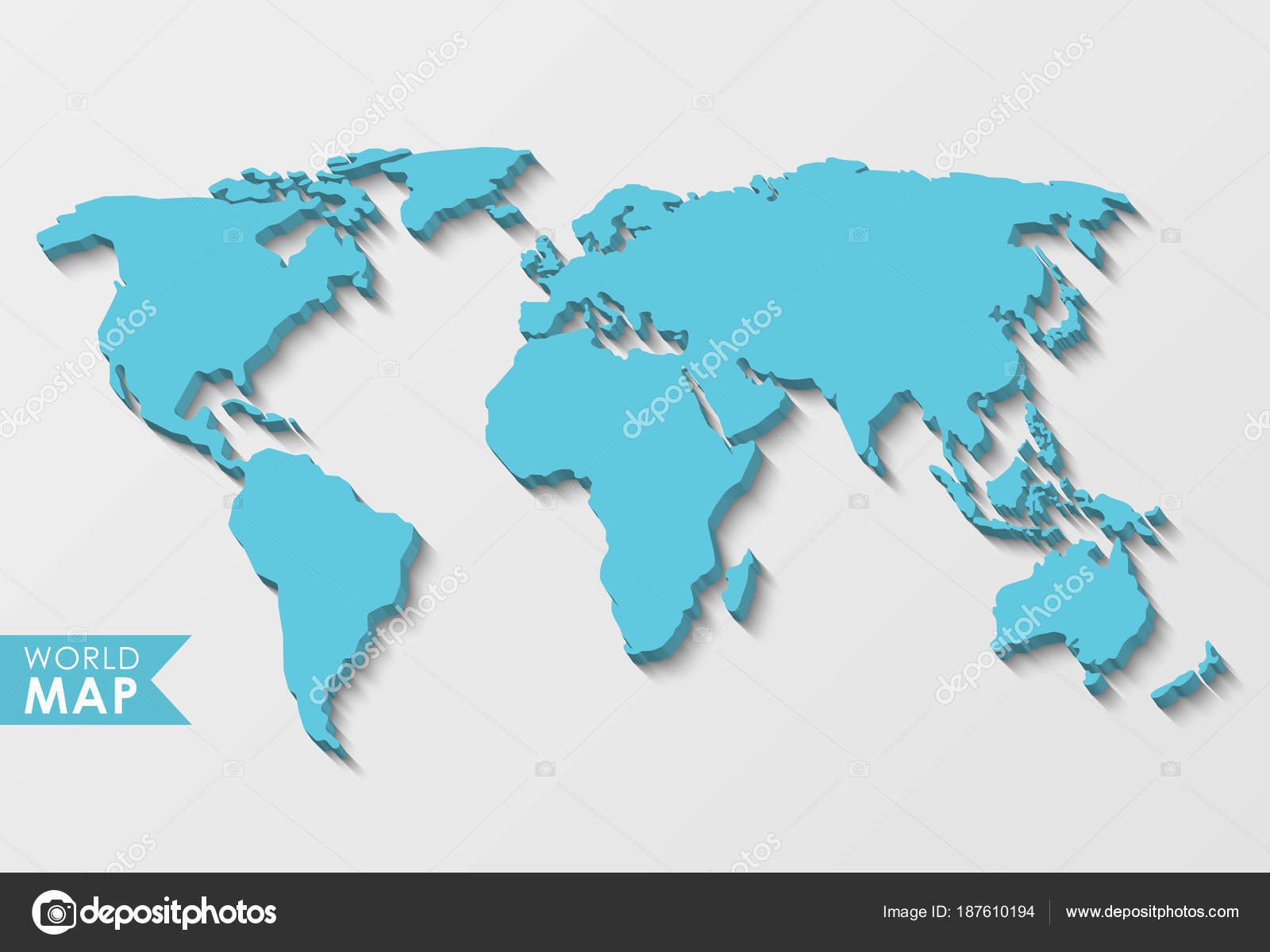 3d world map stock vector kateku 187610194 3d world map with a long shadow isolated on a light background vector by kateku gumiabroncs Choice Image