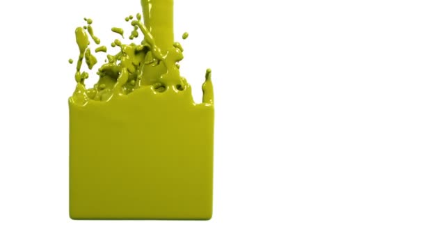 yellow liquid fills up a rectangular container. Colored paint