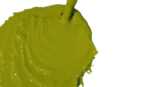yellow liquid flow falls from above fills screen. Colored paint