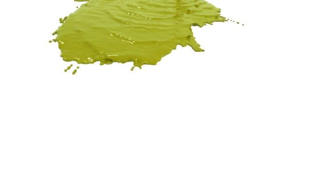Gelbe Farbe ergießt sich in Zeitlupe auf Weiß. Farbige Farbe