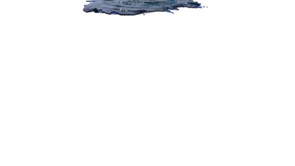 Blaue Farbe auf weißem Hintergrund. klare Flüssigkeit