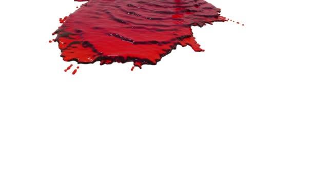 rote Farbe, die sich in Zeitlupe auf Weiß ergießt. klare Flüssigkeit