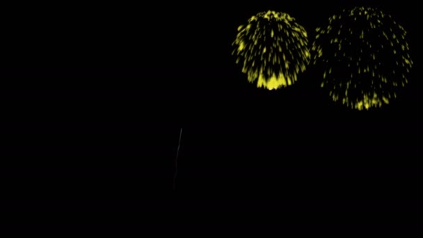 Colorful fireworks at night. Spectacular firecrakers 3d render. Yellow version 35