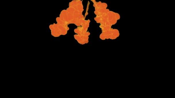 Inkoust na pozadí pro skládání. Oranžový dým nebo inkoust ve vodě série. Akvarel, klesl ve vodě na černém pozadí. Voxel grafikou. Inkoust, rozpouštění ve vodě. Verze 30