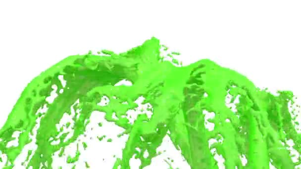 Rozstříknutí tekutiny zelená krásná fontána, kašna 3d na bílém pozadí s Alfa podkladu. Mnoho zelené barvy proudy stoupá vysoko. 3D s velmi vysoké detaily. Verze 3