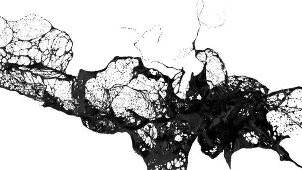 folyadék, mint a levegő fekete festék Splash mozog a lassú mozgás. 3D render folyadék nagyon magas részletesen. 2-es verzió