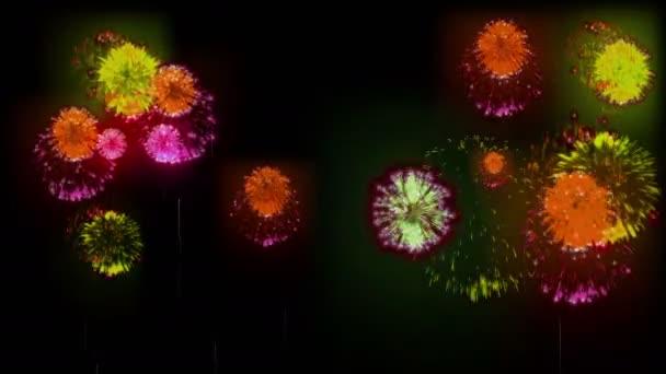 4k více ohňostroje. Krásné barevné velké firecrakers. 3D animace, různé verze. 1