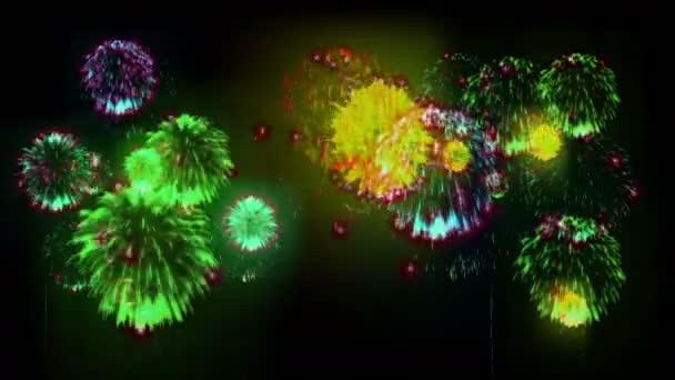 4k více ohňostroje. Krásné barevné velké firecrakers. 3D animace, různé verze. 2