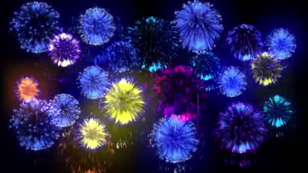 4k Mehrfachfeuerwerk. schöne bunte große Feuerwerkskörper. 3D-Animation, verschiedene Versionen. 15