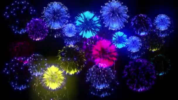 4k více ohňostroje. Krásné barevné velké firecrakers. 3D animace, různé verze. 19