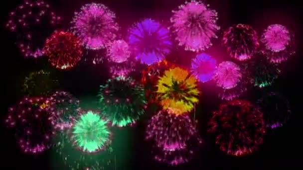 4k více ohňostroje. Krásné barevné velké firecrakers. 3D animace, různé verze. 20