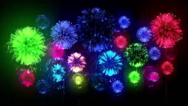 4K - fireworks. Holiday celebration, big fireworks at holiday night. Version 10.