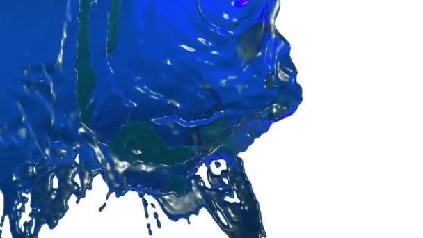 flusso di liquido blu come il succo che cade su priorità bassa bianca - schermo e grondante giù sopra bianco. 3d render con maschera alfa per sfondo, transizione o sovrapposizioni. Versione 7