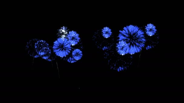Színes tűzijáték éjjel. Látványos firecrakers 3d render. Kék változat 55