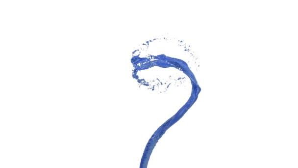 smršť modré kapaliny jako automobilová barva na bílém pozadí. Krásné barevné Malování whirlpool. Izolované transparentní vír tekutého 3d animace s Alfa podkladu. Verze 5
