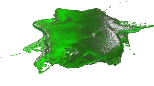 zöld festék cseppek esik a fehér felület. 3D render folyadék, mint a gyümölcslé nagyon magas részletesen és alfa maszk a kompozit. Ver 7