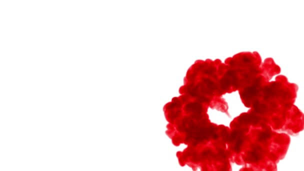 Felső shot. Piros festékkel keveri a vízben mozog a lassú mozgás. A koromsötét háttér vagy füst vagy szabadkézi hatásokkal hátteret, alfa-csatornát a hasznát luma Matt mint alfa-maszkot.
