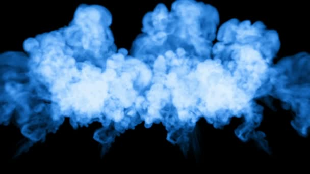 A lot of flows of fluorescent blue ink or smoke, isolated on black in slow  motion  Color react in water  Use for ink background, ink effects  Alpha  channel is on use luma matte as alpha mask