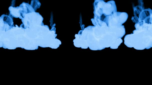 A lot of flows of fluorescent blue ink or smoke, isolated on black in slow motion. Blue paint reacts in water. Use for ink background, ink effects. Alpha channel is on use luma matte as alpha mask