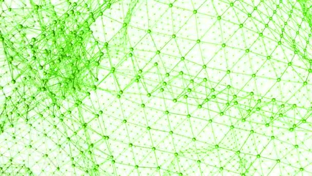 Abstract clean green waving 3D grid or mesh as unique background. Green geometric vibrating environment or pulsating math background.1