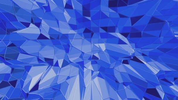 Modré nízké poly lesklý povrch jako fantastický reliéf. Modrá polygonální geometrické zářící prostředí nebo Blikající pozadí kreslené nízké poly populární moderní stylový 3d design.