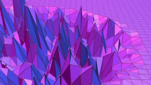 Violet abstract low poly waving surface as corporate background. Violet abstract geometric vibrating environment or pulsating background in cartoon low poly stylish 3D design. Free space