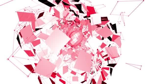 Abstraktní červená vlající 3d mřížky nebo mesh pulsující geometrických objektů. Slouží jako abstraktní geometrické sítě. Červená geometrické vibrační prostředí nebo pulsující matematické pozadí nebo chemických pozadí
