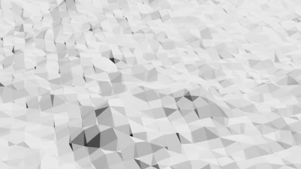 abstrakte schwarz-weiße Low-Poly-wogende 3D-Oberfläche als Umgebung. Grau abstrakte geometrische vibrierende Umgebung oder pulsierender Hintergrund in Cartoon Low Poly populäres stylisches 3D-Design.