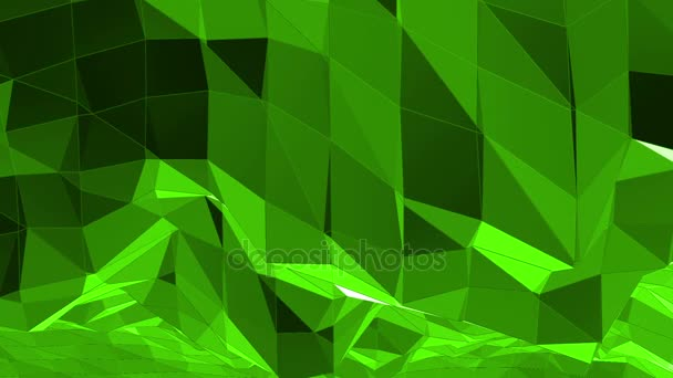 Green low poly background pulsating. Abstract low poly surface as fantastic relief in stylish low poly design. Polygonal mosaic background with vertex, spikes. Cool modern 3D design