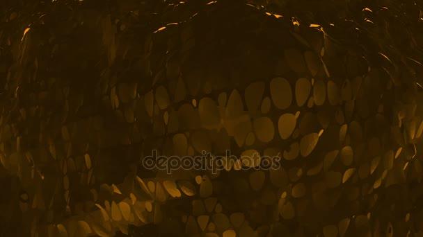 Dark orange low poly waving surface as space background. Dark orange polygonal geometric vibrating environment or pulsating background in cartoon low poly popular modern stylish 3D design..