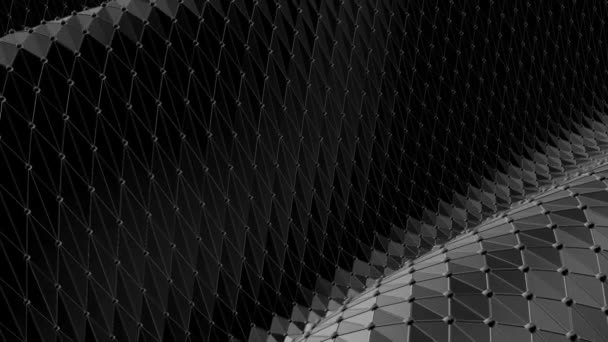 Abstract black and white low poly waving 3D surface as transforming environment. Grey abstract geometric vibrating environment or pulsating background in cartoon low poly popular stylish 3D design.