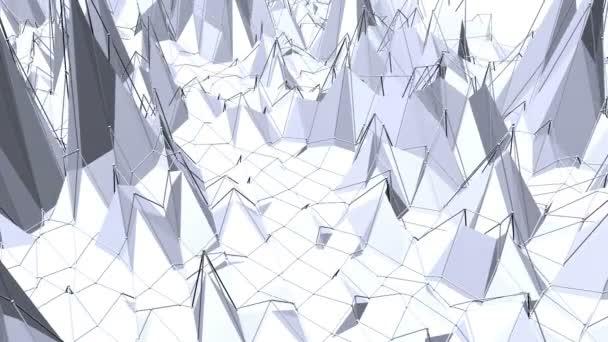 Absztrakt fekete-fehér alacsony poly integetett a felülete, mint a sci-fi háttér. Szürke absztrakt geometriai vibráló környezet vagy lüktető háttér rajzfilm alacsony poly népszerű stílusos 3d design.