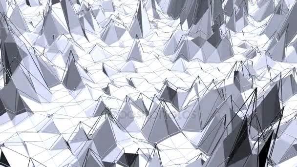 Abstraktní černá a bílá nízká poly mávat povrch jako zatopený kráter. Šedá abstraktní geometrické vibrační prostředí nebo Blikající pozadí kreslené nízké poly populární stylový 3d design.