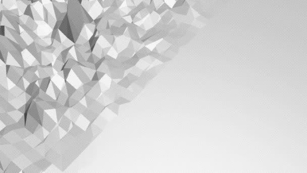 Abstraktní čisté černé a bílé nízké poly mávat 3d povrch jako živé prostředí. Šedá geometrické vibrační prostředí nebo Blikající pozadí kreslené nízké poly populární stylový 3d design. Volné místo