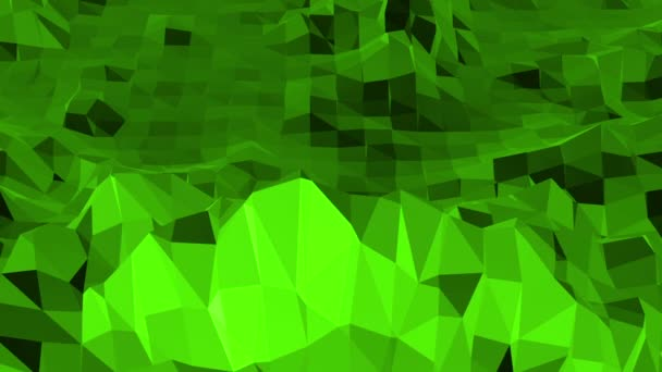Green low poly background vibrating. Abstract low poly surface as landscape or chemical structure in stylish low poly design. Polygonal mosaic background with vertex, spikes. Nice modern 3D design